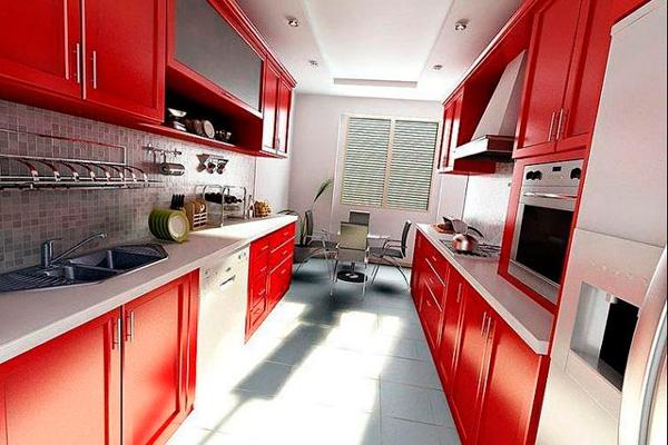 Сочетание красного и белого в дизайне узкой кухни