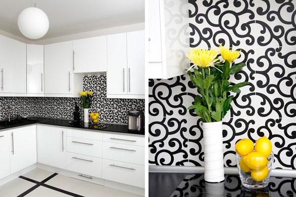 Строгая черно белая кухня