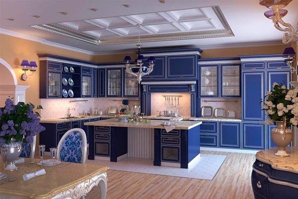 Потрясающий дизайн интерьера кухни цвета ультрамарин