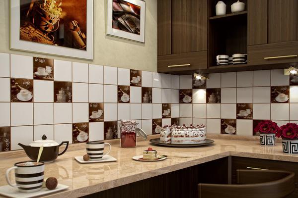 Отделка фартука керамической плиткой в кофейном стиле