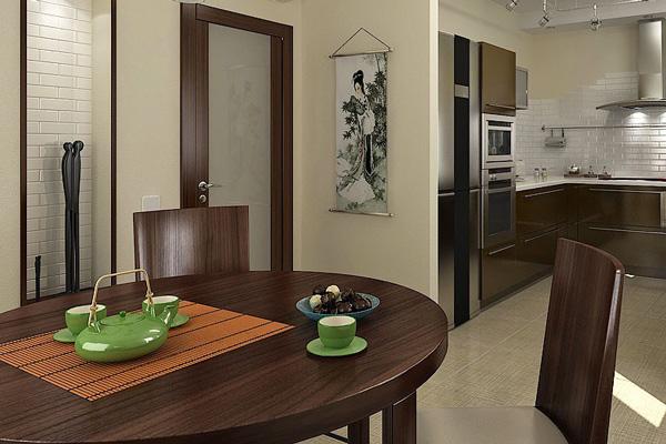 Двери для кухни под цвет стола