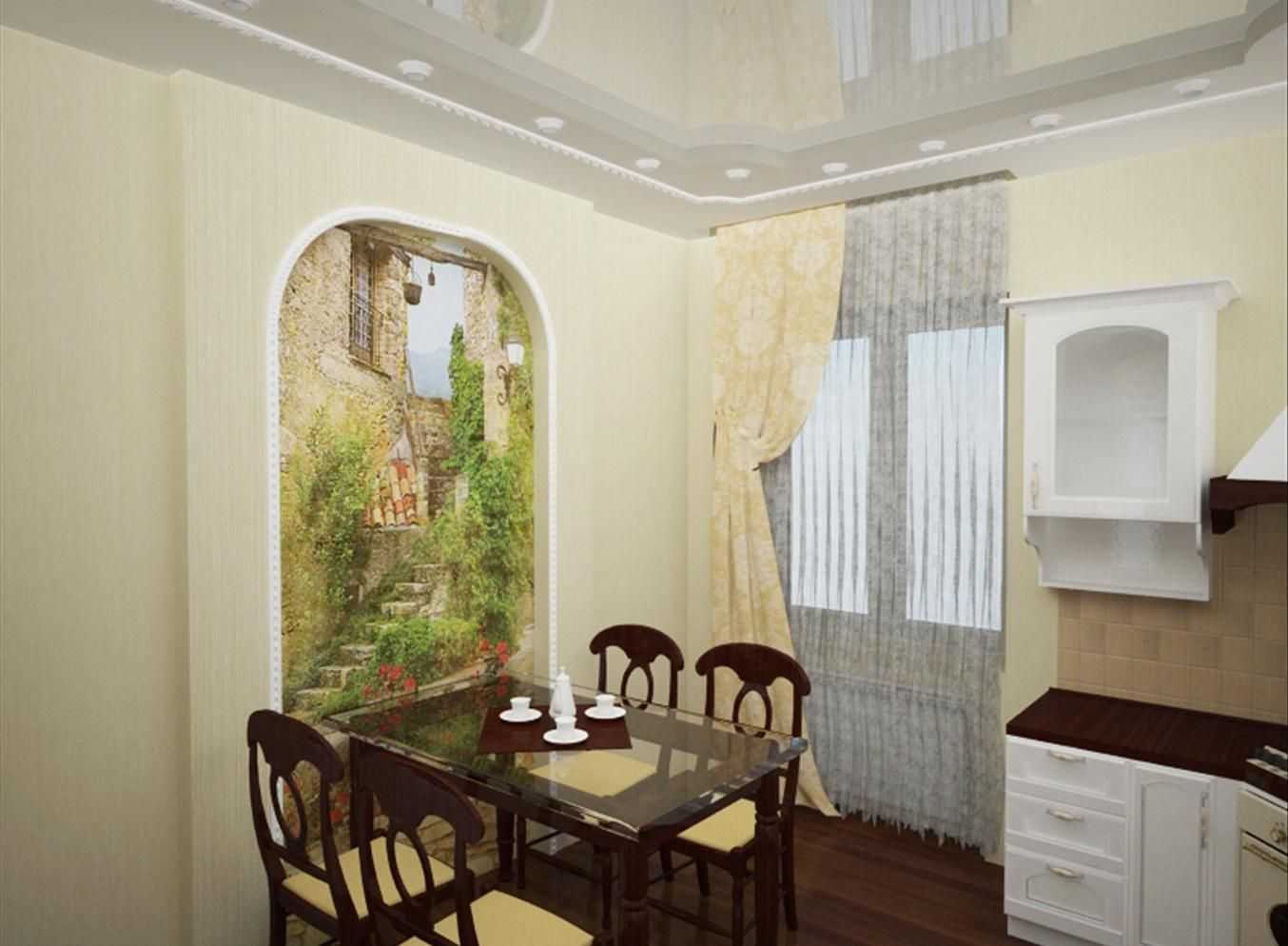Фреска на стену кухни фото