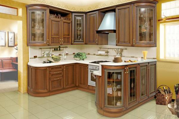 Дизайн кухни с применением деревянного фасада