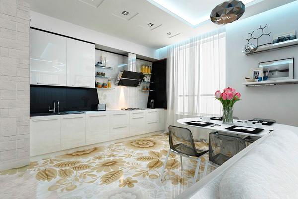Наливной пол с рисунком на кухне