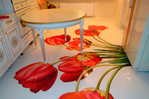 Красивый пол с тюльпанами из жидкого линолеума