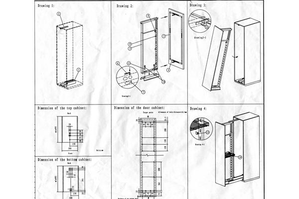 Схема монтажа выдвижного пенала
