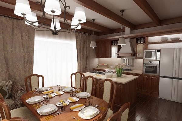 Деревянные фасады в отделке кухни