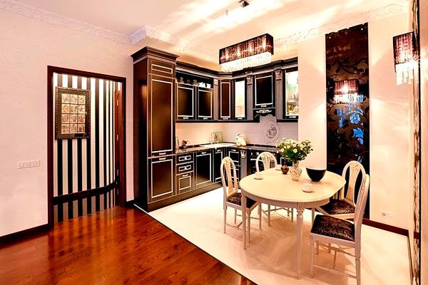 Классический стиль в интерьере кухни-столовой
