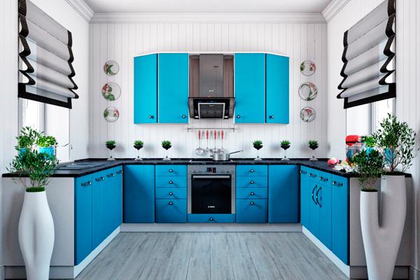 П-образная кухня в серо-голубом цвете