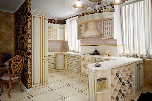 Светлая кухня-гостинная в классическом стиле