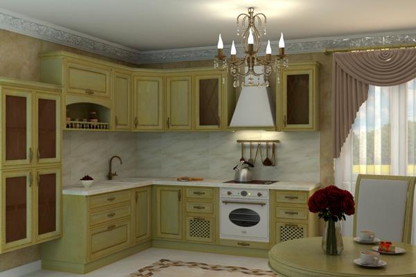 Кухня фисташкового цвета в классическом стиле