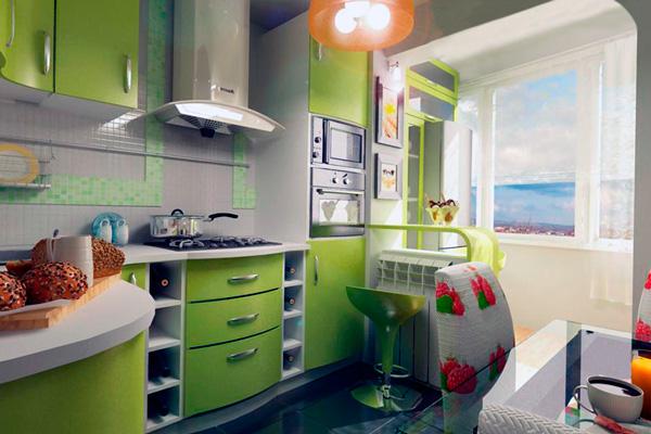 Дизайн совмещения кухни с балконом