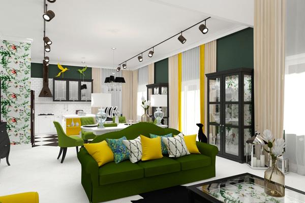 Сочетание зеленого и желтого цветов при совмещении пространств