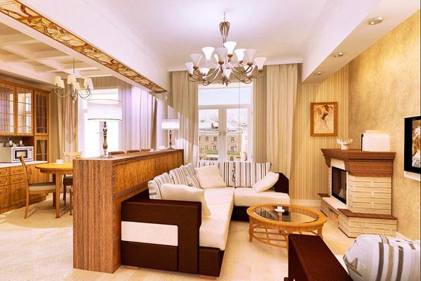 Уютная обстановка при совмещении кухни и зала