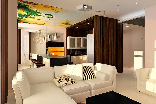 Черно-белое оформление зала и кухни с яркими элементами