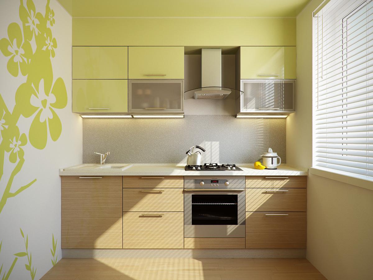 как комбинировать обои на кухне фото
