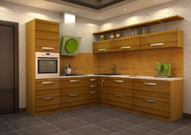Кухня в стиле модерн с фасадом, покрытым шпоном