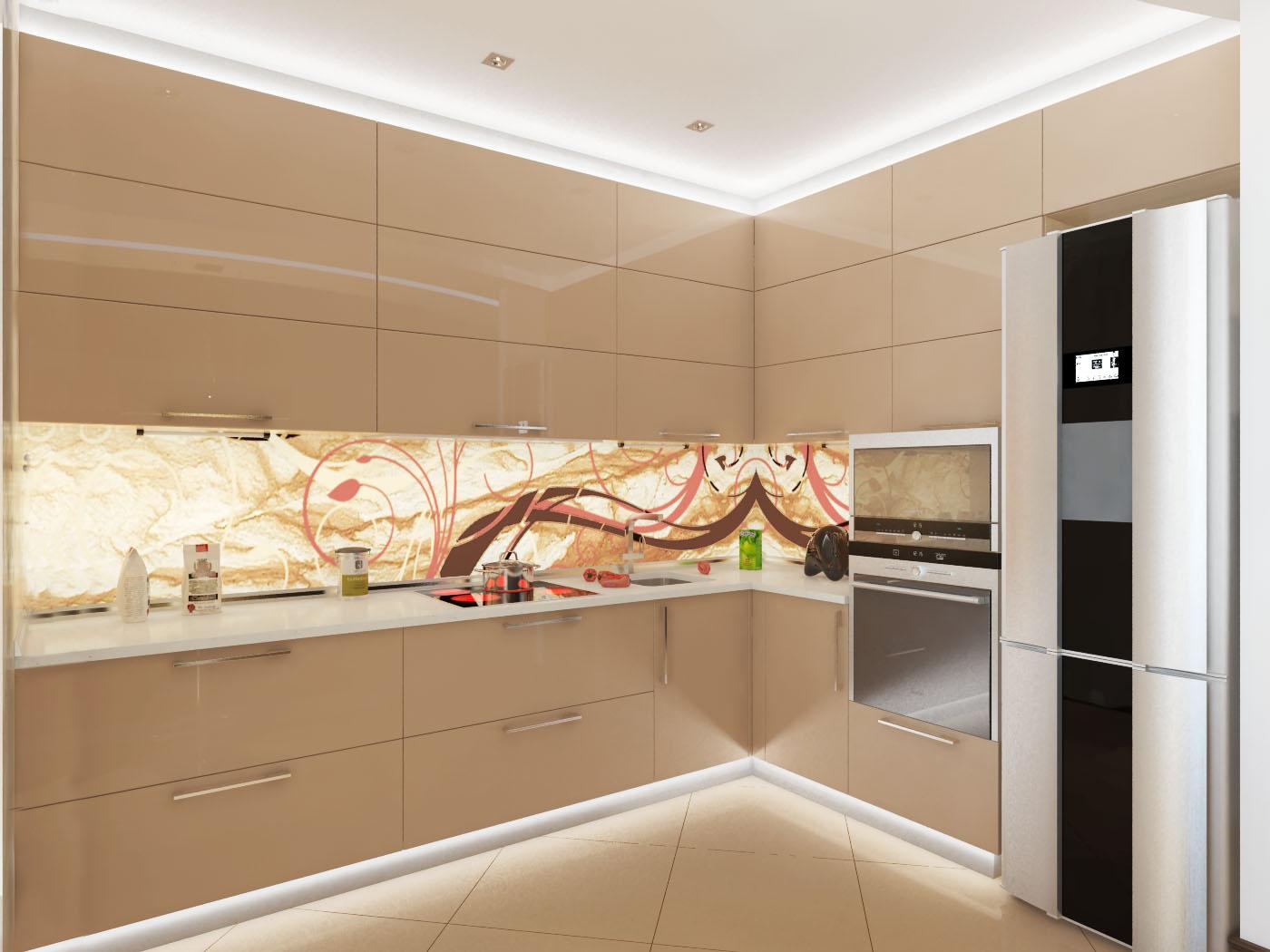 Бежевая кухня с фасадом из пластика