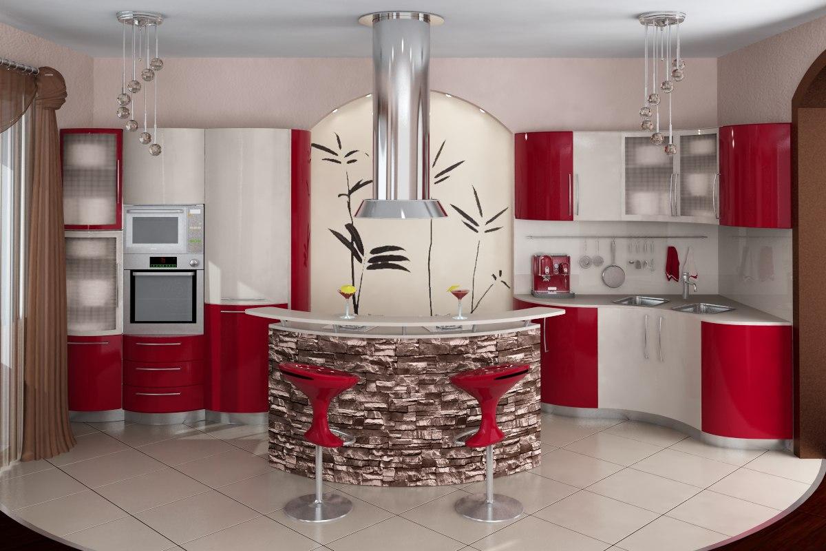 Кухня с современной угловой конфигурацией