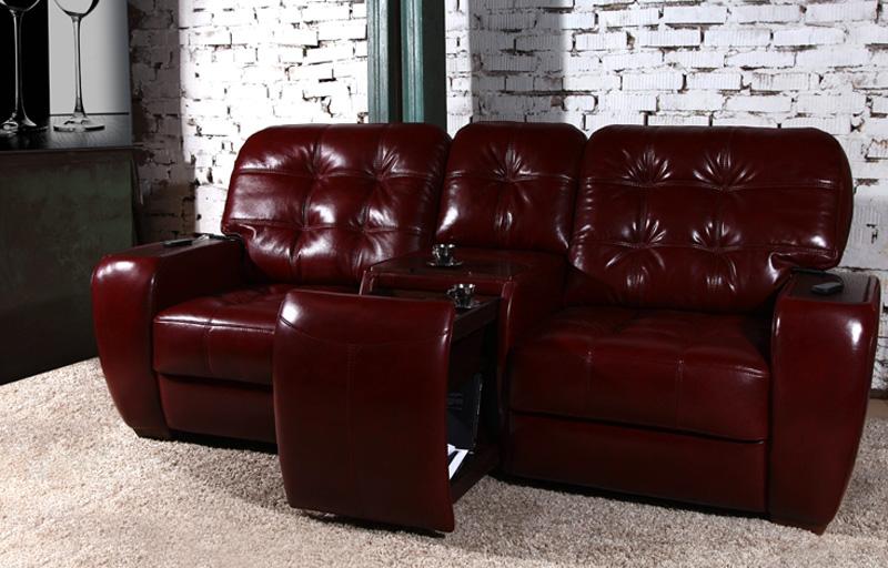 Кожаный диван с выдвижным баром